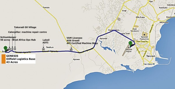 Map - Takoradi Airport to Genesis Logistics Base